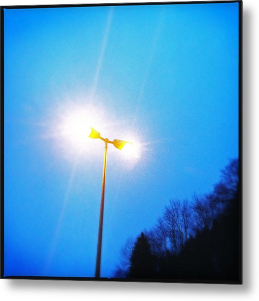 Blue Morning - Bright Beam Of Light Metal Print