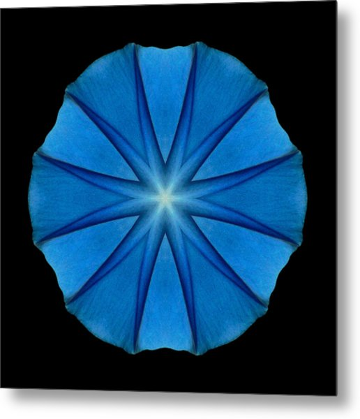 Blue Morning Glory Flower Mandala Metal Print
