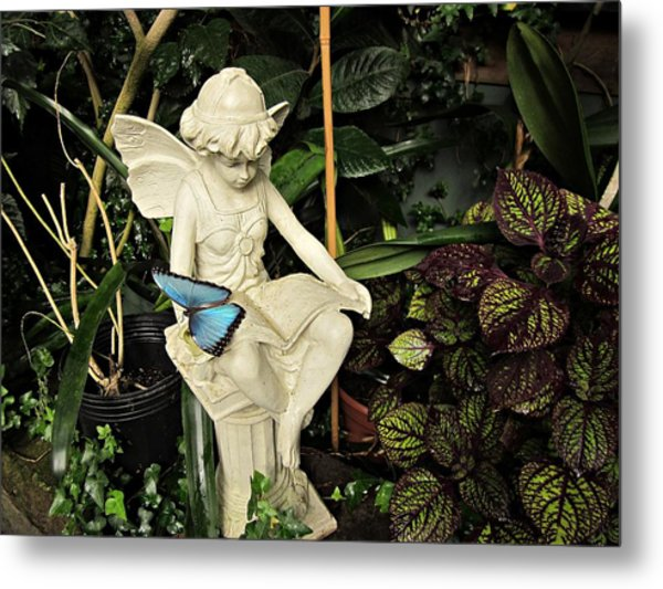 Blue Morpho On Statue Metal Print