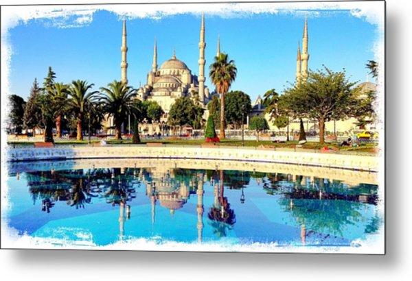 Blue Mosque Fountain Metal Print