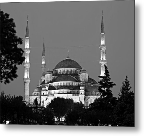 Blue Mosque In Black And White Metal Print