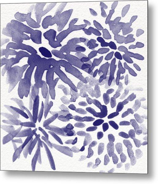 Blue Mums- Watercolor Floral Art Metal Print