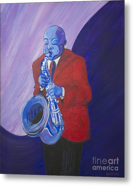 Metal Print featuring the painting Blue Note by Dwayne Glapion