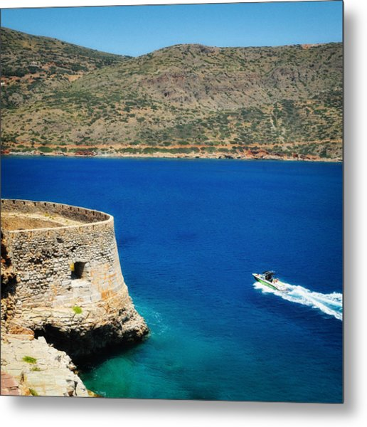 Blue Ocean And A Boat In Greece Metal Print
