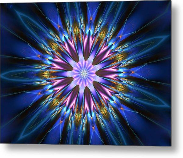 Blue Oomph Fractal Mandala Metal Print