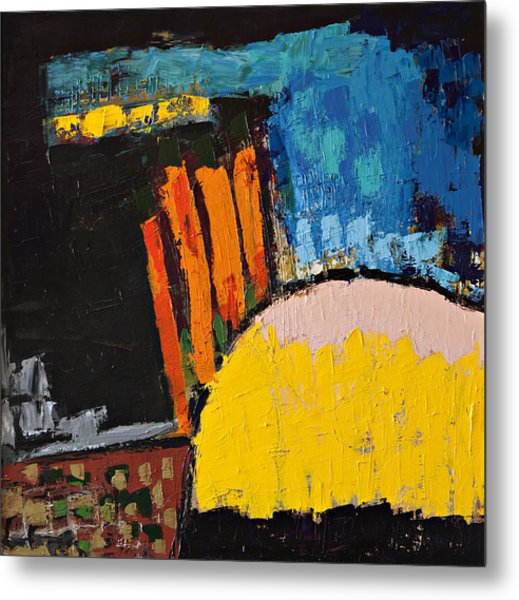 Blue Orange And Yellow Abstract Metal Print by Maggis Art