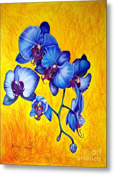 Blue Orchids 1 Metal Print