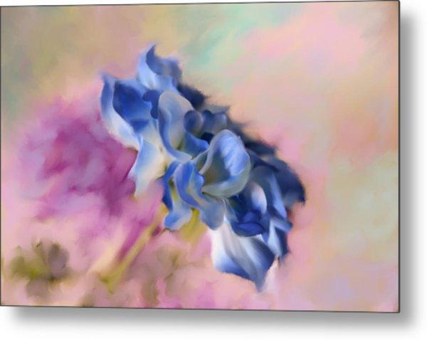 Blue Painted Flower Metal Print