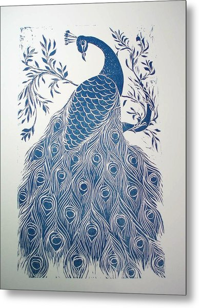 Blue Peacock Metal Print