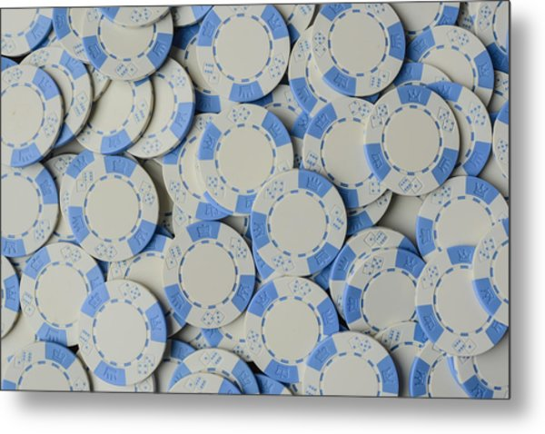 Blue Poker Chip Background Metal Print