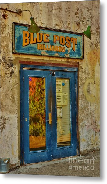 Blue Post Billiards Metal Print