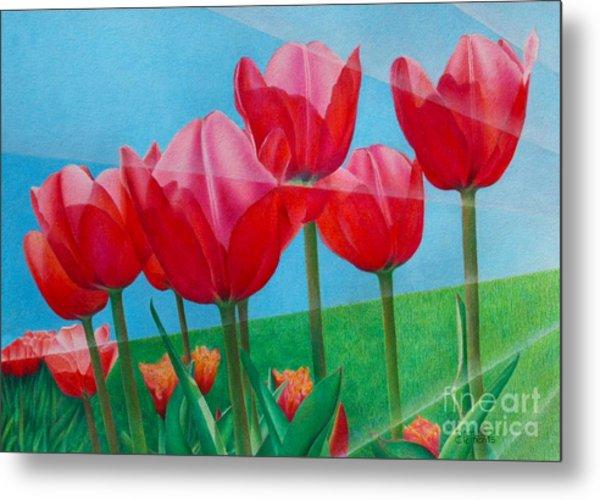 Blue Ray Tulips Metal Print
