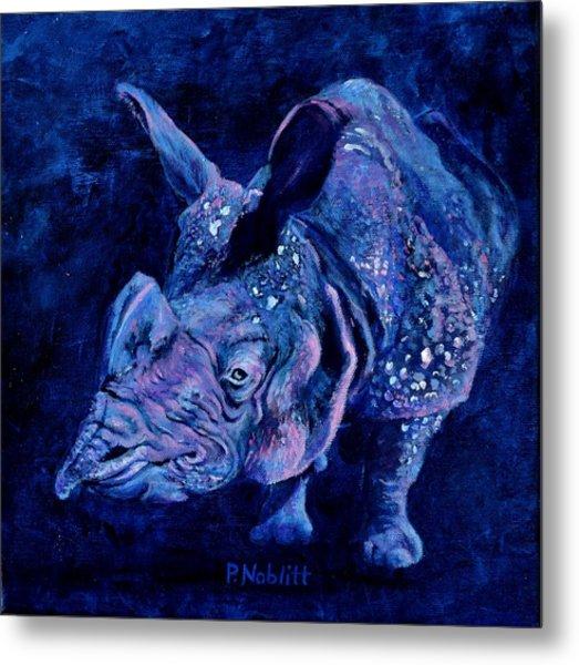 Indian Rhino - Blue Metal Print