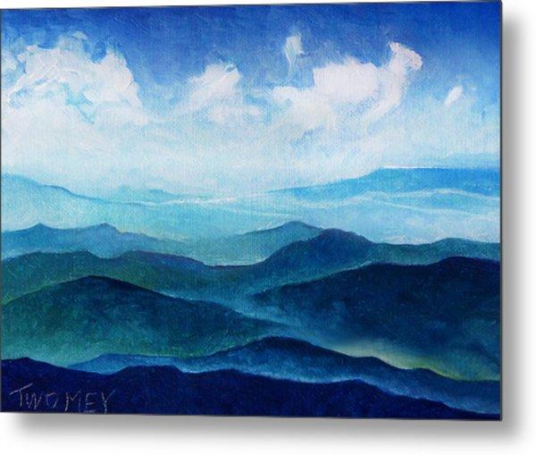 Blue Ridge Blue Skyline Sheep Cloud Metal Print