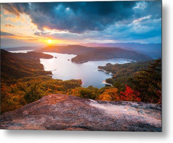 Blue Ridge Mountains Sunset - Lake Jocassee Gold Metal Print