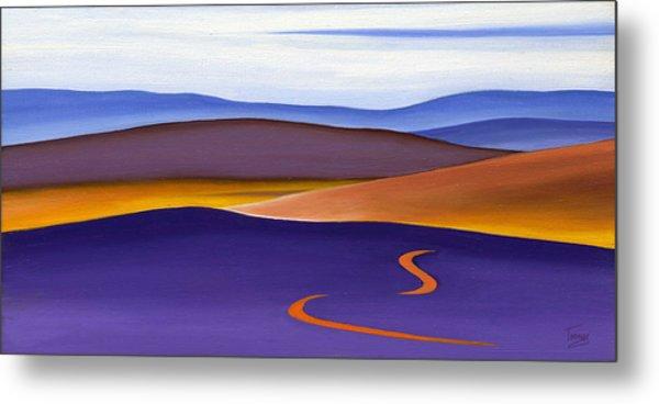 Blue Ridge Orange Mountains Sky And Road In Fall Metal Print