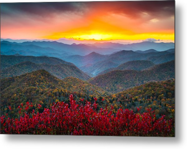 Blue Ridge Parkway Autumn Sunset Nc - Rapture Metal Print