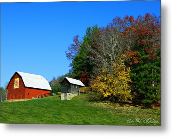 Blue Ridge Parkway Barn With Fall Trees Metal Print