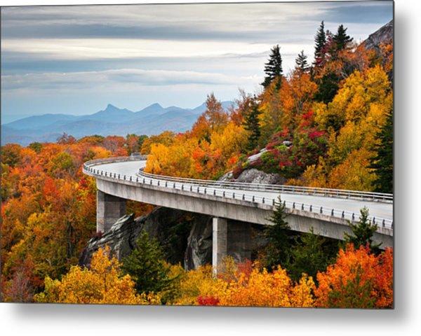 Blue Ridge Parkway Fall Foliage Linn Cove Viaduct Metal Print