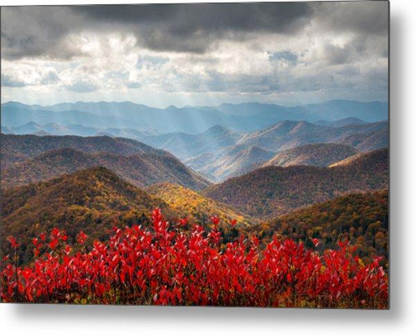 Blue Ridge Parkway Fall Foliage - The Light Metal Print