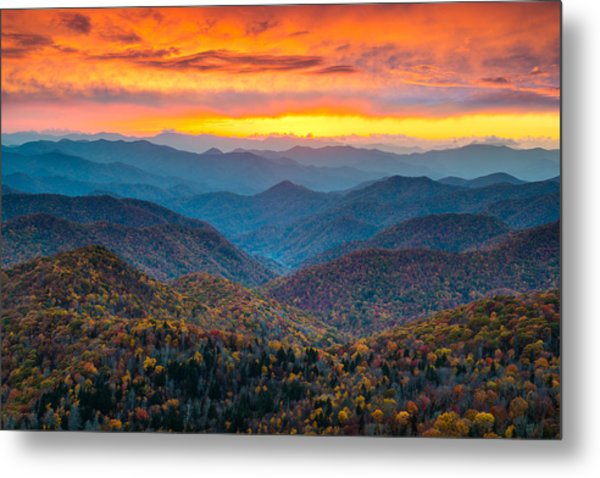 Blue Ridge Parkway Fall Sunset Landscape - Autumn Glory Metal Print