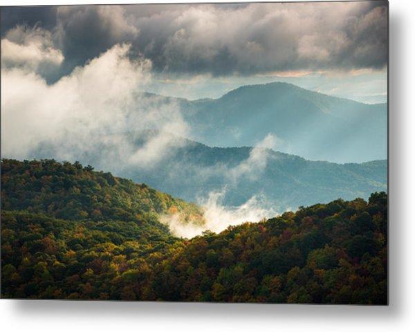 Blue Ridge Parkway Nc Autumn Morning Metal Print by Dave Allen