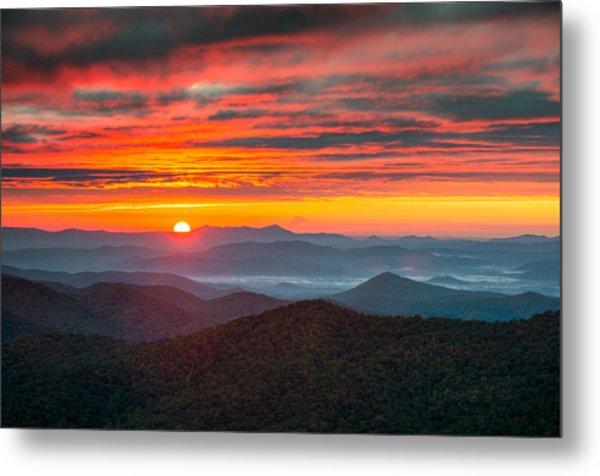 North Carolina Blue Ridge Parkway Nc Autumn Sunrise Metal Print