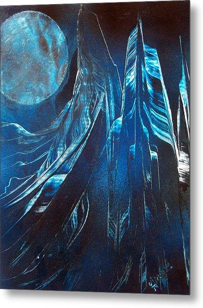 Blue Satin Metal Print