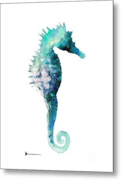 Blue Seahorse Watercolor Art Print Painting Metal Print