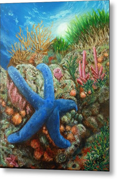Metal Print featuring the painting Blue Seastar by Amelie Simmons