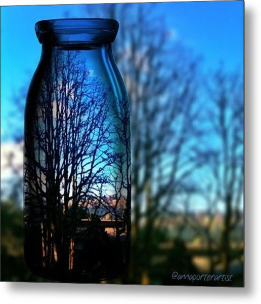 Blue Skies Bottled Winter In Oregon Metal Print