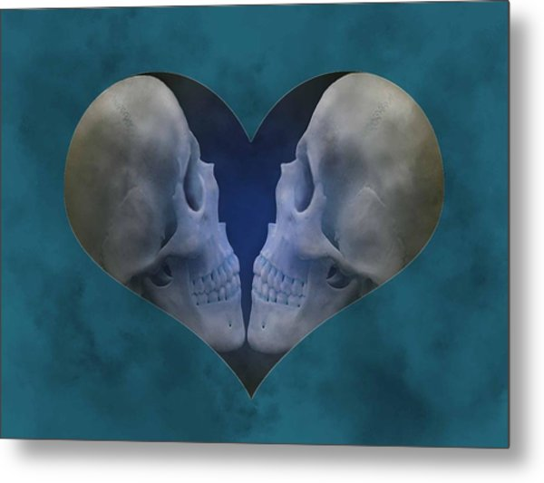 Blue Skull Love Metal Print by Diana Shively