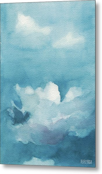 Blue Sky White Clouds Watercolor Painting Metal Print