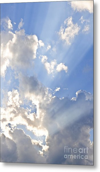 Blue Sky With Sun Rays Metal Print