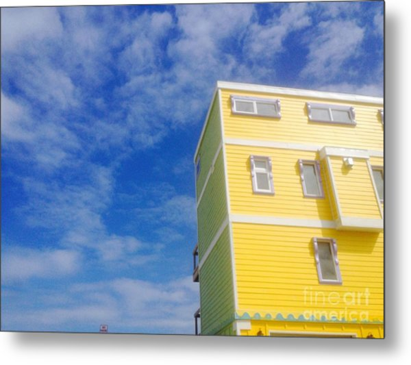 Blue Sky Yellow House Metal Print