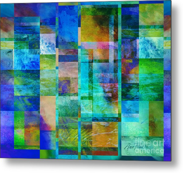 Blue Squares Abstract Art Metal Print by Ann Powell
