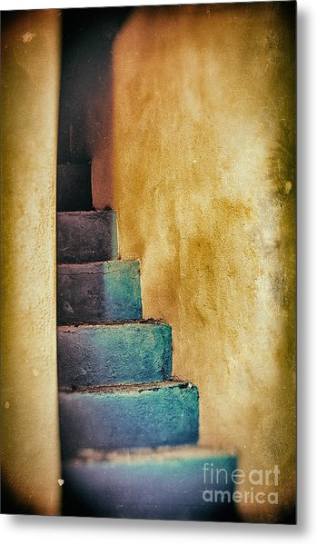 Blue Stairs - Yellow Wall    Metal Print