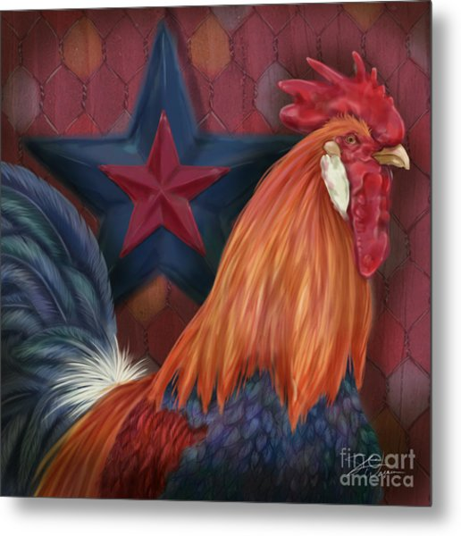 Blue Star Rooster Metal Print