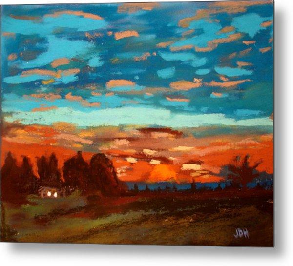 Blue Sunset Pastel Metal Print