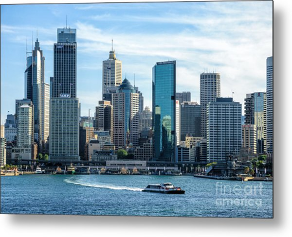 Blue Sydney - Circular Quay And Sydney Harbor With Skyscapers And Ferry Metal Print by David Hill