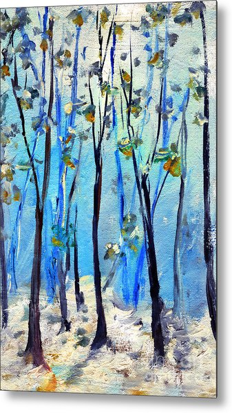Blue Thoughts In Winter Metal Print