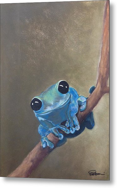 Blue Tree Frog On A Branch Metal Print