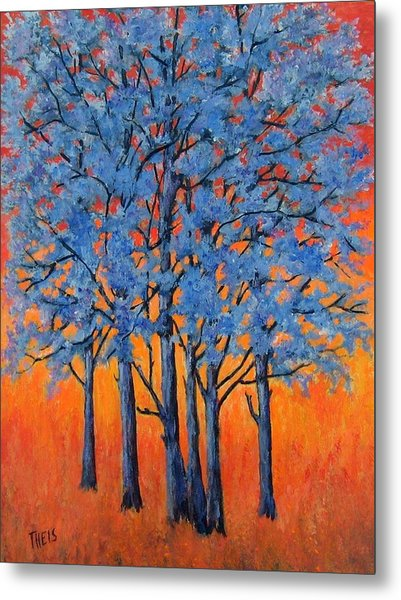 Blue Trees On A Hot Day Metal Print