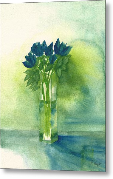 Blue Tulips In Glass Vase Metal Print
