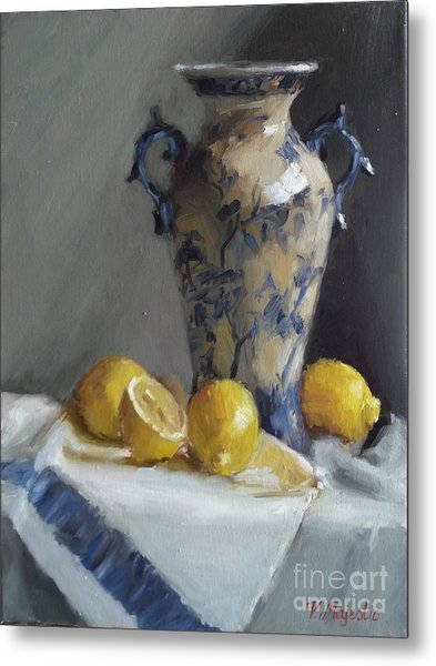 Blue Vase And Lemons Metal Print
