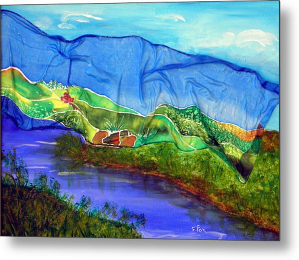Blue Water Silk Metal Print