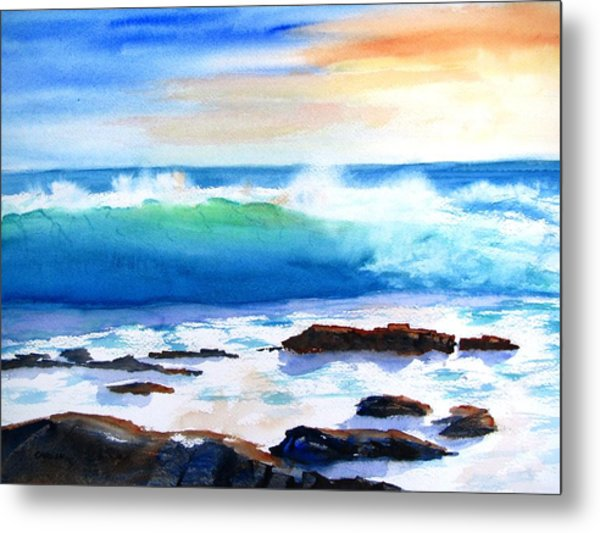 Blue Water Wave Crashing On Rocks Metal Print