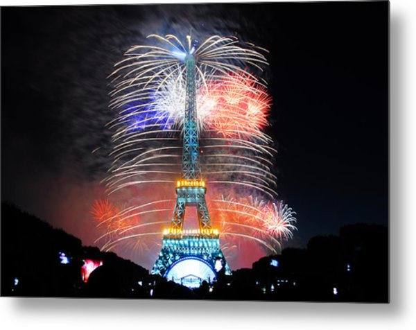 Blue White Red Fireworks Metal Print