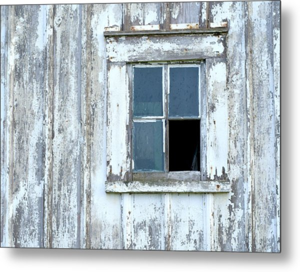 Blue Window In Weathered Wall Metal Print