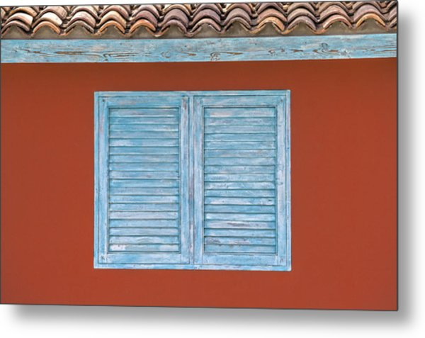 Blue Window Shutter Of Aruba Metal Print